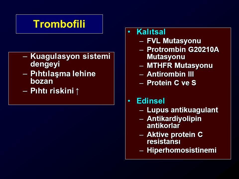 –Kuagulasyon sistemi dengeyi –Pıhtılaşma lehine bozan –Pıhtı riskini ↑ KalıtsalKalıtsal –FVL Mutasyonu –Protrombin G20210A Mutasyonu –MTHFR Mutasyonu –Antirombin III –Protein C ve S EdinselEdinsel –Lupus antikuagulant –Antikardiyolipin antikorlar –Aktive protein C resistansı –Hiperhomosistinemi Trombofili