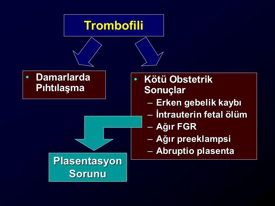 Kötü Obstetrik SonuçlarKötü Obstetrik Sonuçlar –Erken gebelik kaybı –İntrauterin fetal ölüm –Ağır FGR –Ağır preeklampsi –Abruptio plasenta Damarlarda PıhtılaşmaDamarlarda Pıhtılaşma Trombofili PlasentasyonSorunu