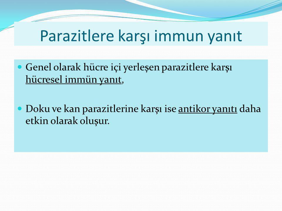 Parazitlere karşı immun yanıt Genel olarak hücre içi yerleşen parazitlere karşı hücresel immün yanıt, Doku ve kan parazitlerine karşı ise antikor yanı