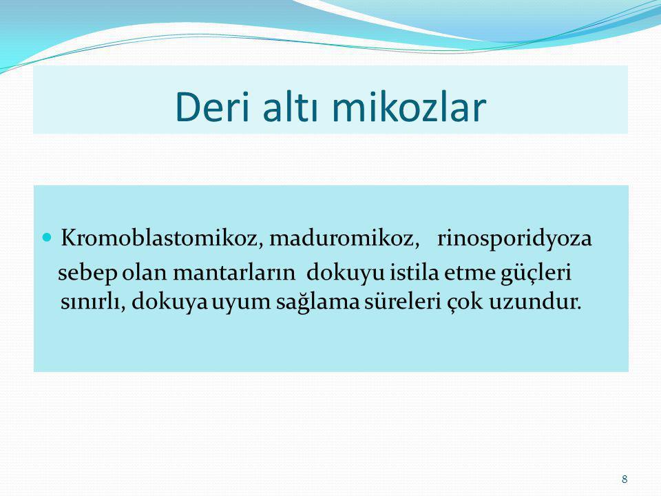 8 Deri altı mikozlar Kromoblastomikoz, maduromikoz, rinosporidyoza sebep olan mantarların dokuyu istila etme güçleri sınırlı, dokuya uyum sağlama süre