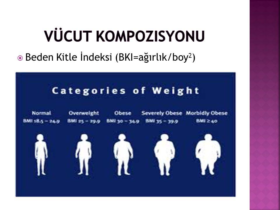  Beden Kitle İndeksi (BKI=ağırlık/boy 2 )
