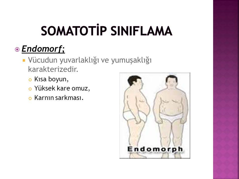  Endomorf;  Vücudun yuvarlaklığı ve yumuşaklığı karakterizedir. Kısa boyun, Yüksek kare omuz, Karnın sarkması.