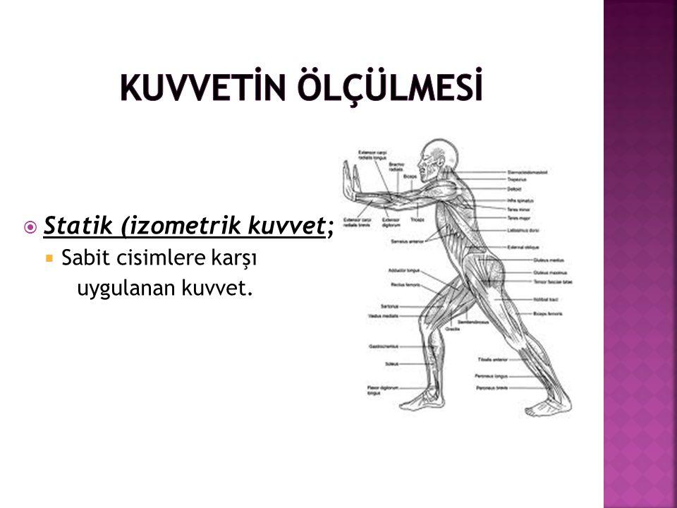  Statik (izometrik kuvvet;  Sabit cisimlere karşı uygulanan kuvvet.