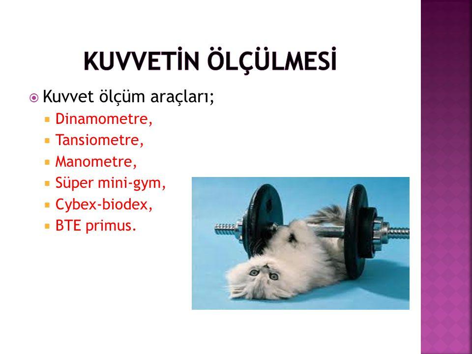  Kuvvet ölçüm araçları;  Dinamometre,  Tansiometre,  Manometre,  Süper mini-gym,  Cybex-biodex,  BTE primus.