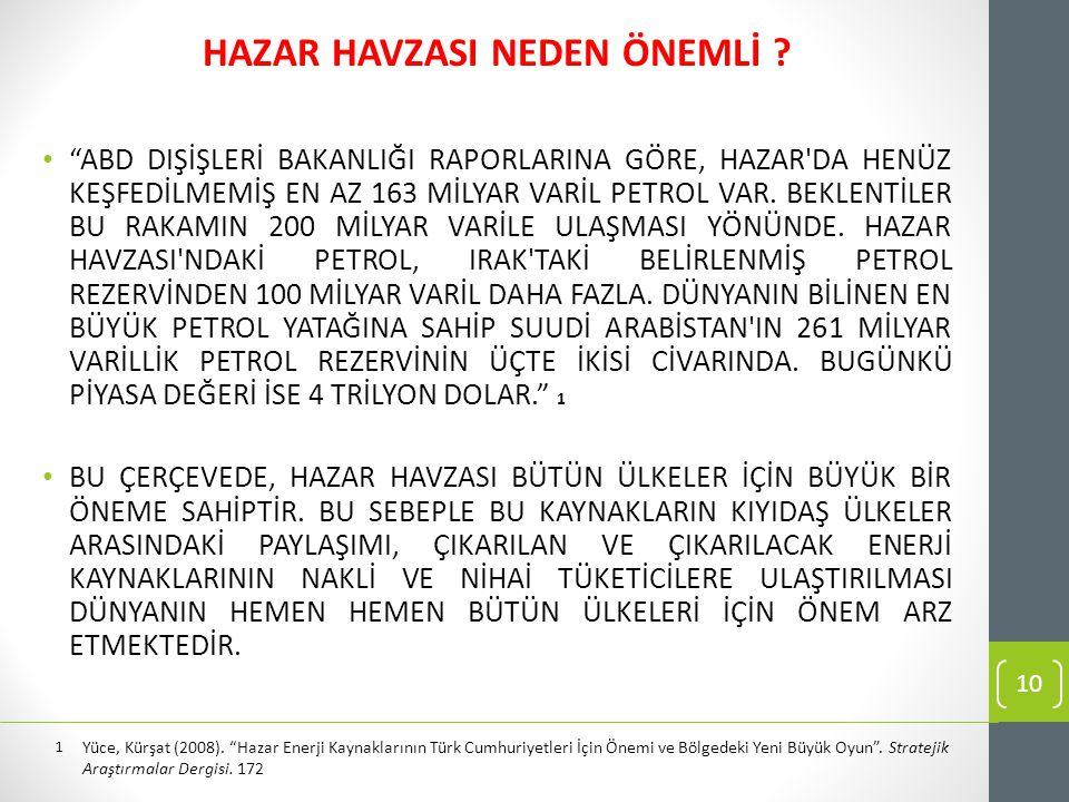 HAZAR HAVZASI NEDEN ÖNEMLİ .