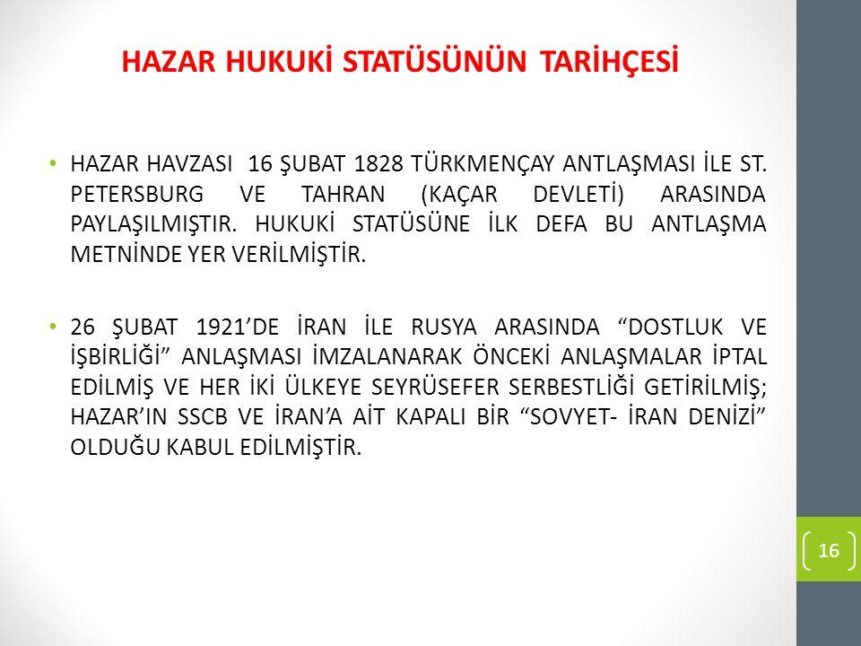 HAZAR HAVZASI 16 ŞUBAT 1828 TÜRKMENÇAY ANTLAŞMASI İLE ST.