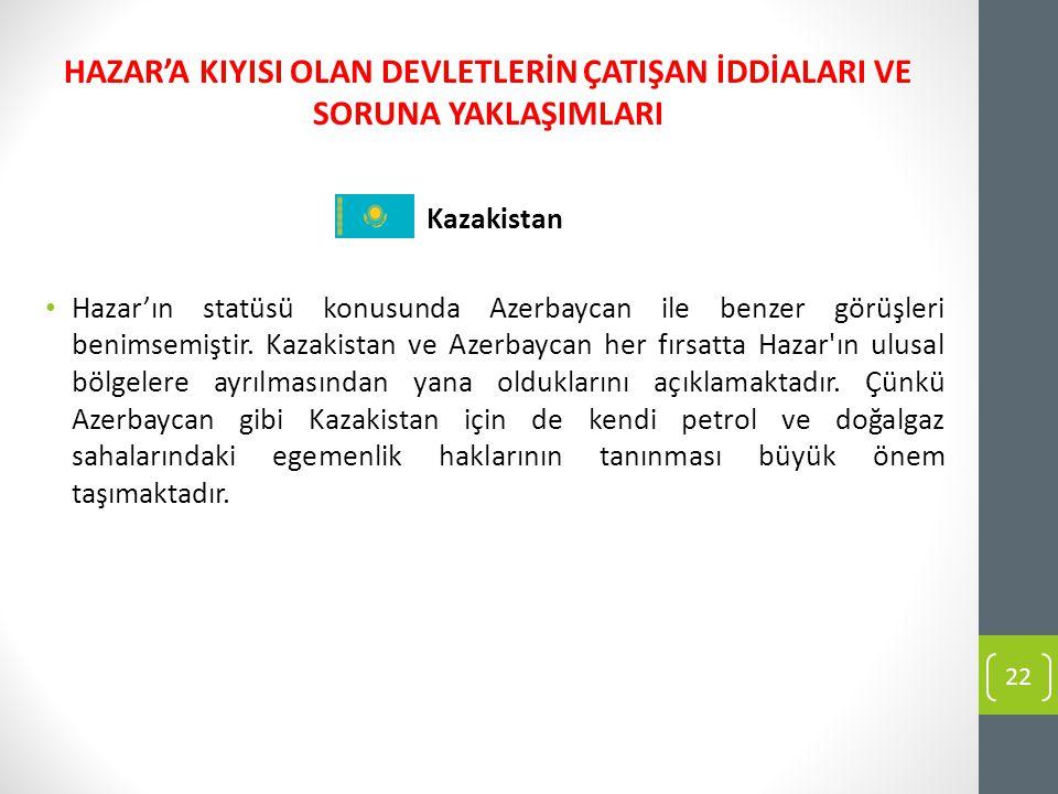 Kazakistan Hazar'ın statüsü konusunda Azerbaycan ile benzer görüşleri benimsemiştir. Kazakistan ve Azerbaycan her fırsatta Hazar'ın ulusal bölgelere a
