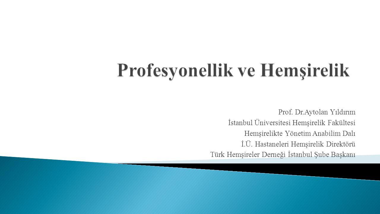 Prof. Dr.Aytolan Yıldırım İstanbul Üniversitesi Hemşirelik Fakültesi Hemşirelikte Yönetim Anabilim Dalı İ.Ü. Hastaneleri Hemşirelik Direktörü Türk Hem