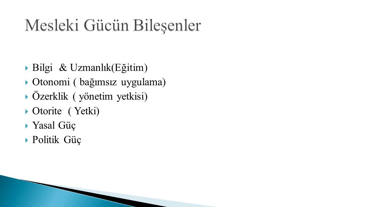  Bilgi & Uzmanlık(Eğitim)  Otonomi ( bağımsız uygulama)  Özerklik ( yönetim yetkisi)  Otorite ( Yetki)  Yasal Güç  Politik Güç