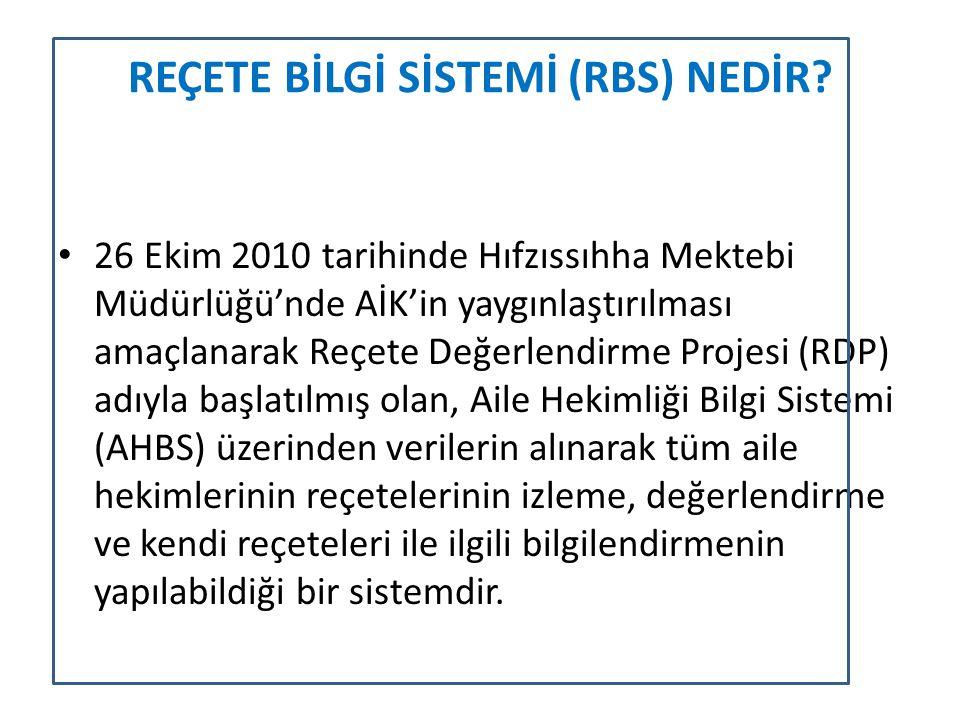 REÇETE BİLGİ SİSTEMİ (RBS) NEDİR? 26 Ekim 2010 tarihinde Hıfzıssıhha Mektebi Müdürlüğü'nde AİK'in yaygınlaştırılması amaçlanarak Reçete Değerlendirme