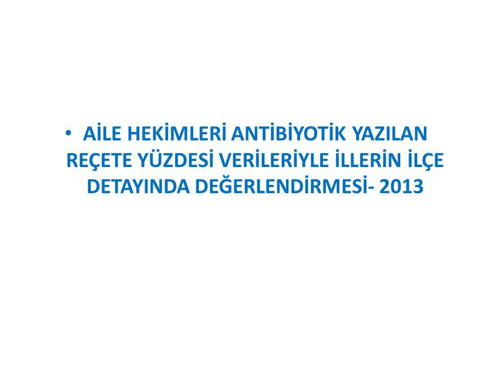AİLE HEKİMLERİ ANTİBİYOTİK YAZILAN REÇETE YÜZDESİ VERİLERİYLE İLLERİN İLÇE DETAYINDA DEĞERLENDİRMESİ- 2013