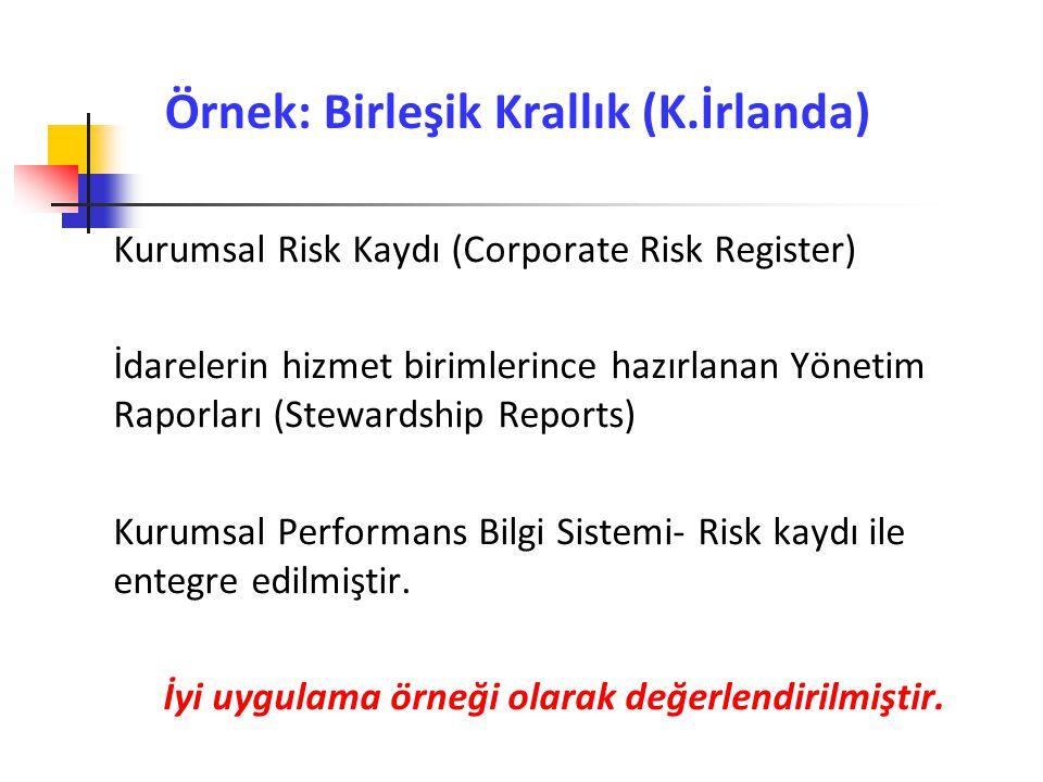 Örnek: Birleşik Krallık (K.İrlanda) Kurumsal Risk Kaydı (Corporate Risk Register) İdarelerin hizmet birimlerince hazırlanan Yönetim Raporları (Steward