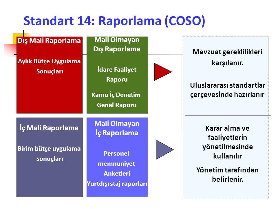 Standart 14: Raporlama (COSO) Dış Mali Raporlama Aylık Bütçe Uygulama Sonuçları Mali Olmayan Dış Raporlama İdare Faaliyet Raporu İç Mali Raporlama Bir