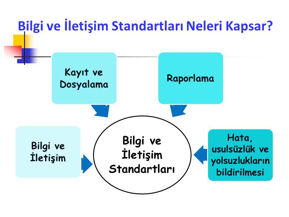 Bilgi ve İletişim Standartları Neleri Kapsar? Bilgi ve İletişim Standartları Bilgi ve İletişim Kayıt ve Dosyalama Raporlama Hata, usulsüzlük ve yolsuz