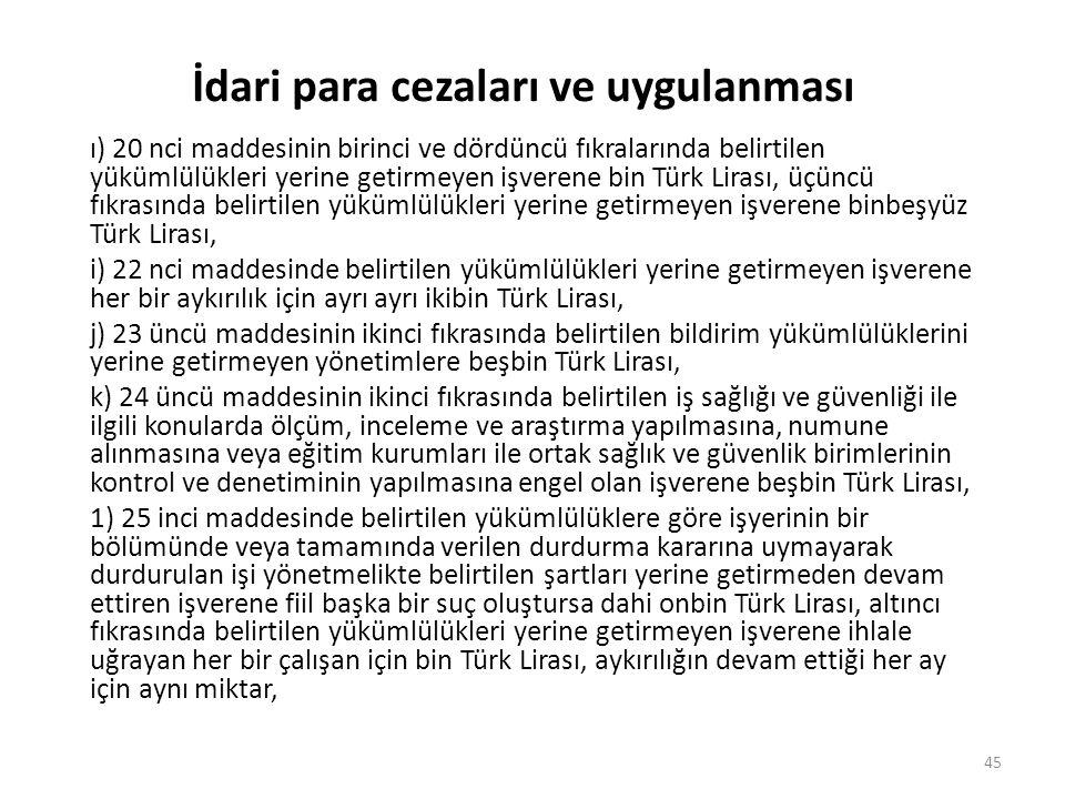 İdari para cezaları ve uygulanması ı) 20 nci maddesinin birinci ve dördüncü fıkralarında belirtilen yükümlülükleri yerine getirmeyen işverene bin Türk