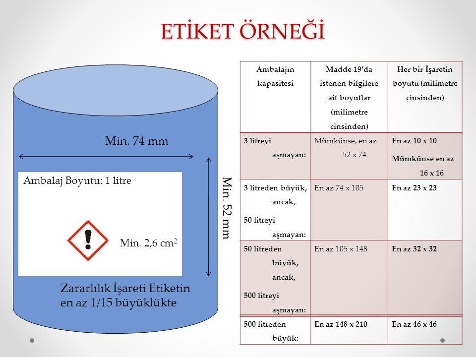 ETİKET ÖRNEĞİ Ambalaj Boyutu: 1 litre Min.74 mm Min.