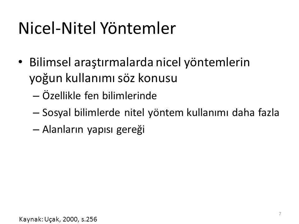 Nicel-Nitel Yöntemler Bilimsel araştırmalarda nicel yöntemlerin yoğun kullanımı söz konusu – Özellikle fen bilimlerinde – Sosyal bilimlerde nitel yöntem kullanımı daha fazla – Alanların yapısı gereği 7 Kaynak: Uçak, 2000, s.256