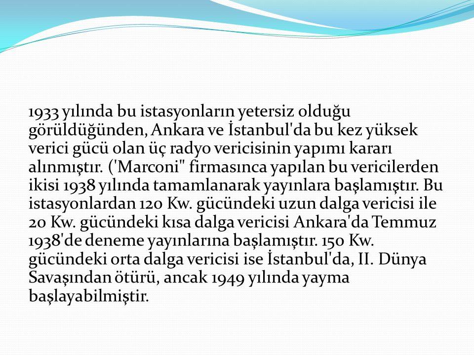 1933 yılında bu istasyonların yetersiz olduğu görüldüğünden, Ankara ve İstanbul'da bu kez yüksek verici gücü olan üç radyo vericisinin yapımı kararı a