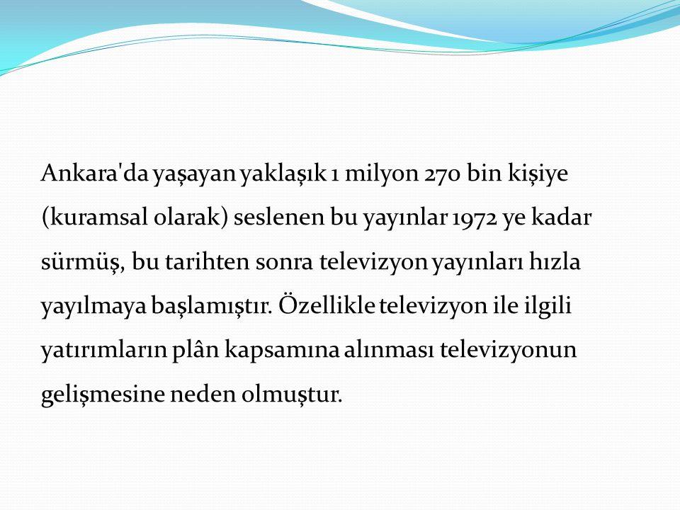 Ankara'da yaşayan yaklaşık 1 milyon 270 bin kişiye (kuramsal olarak) seslenen bu yayınlar 1972 ye kadar sürmüş, bu tarihten sonra televizyon yayınları