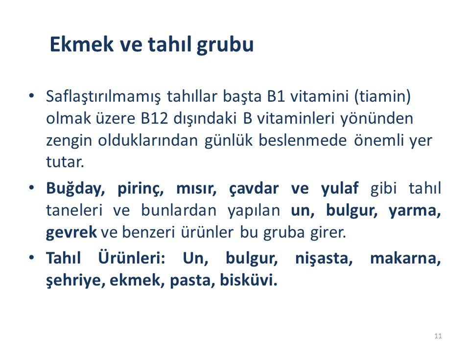 Ekmek ve tahıl grubu Saflaştırılmamış tahıllar başta B1 vitamini (tiamin) olmak üzere B12 dışındaki B vitaminleri yönünden zengin olduklarından günlük