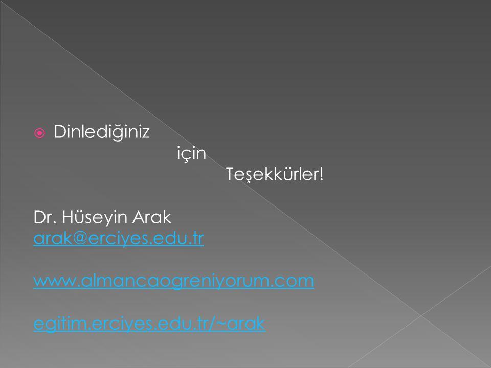  Dinlediğiniz için Teşekkürler! Dr. Hüseyin Arak arak@erciyes.edu.tr www.almancaogreniyorum.com egitim.erciyes.edu.tr/~arak