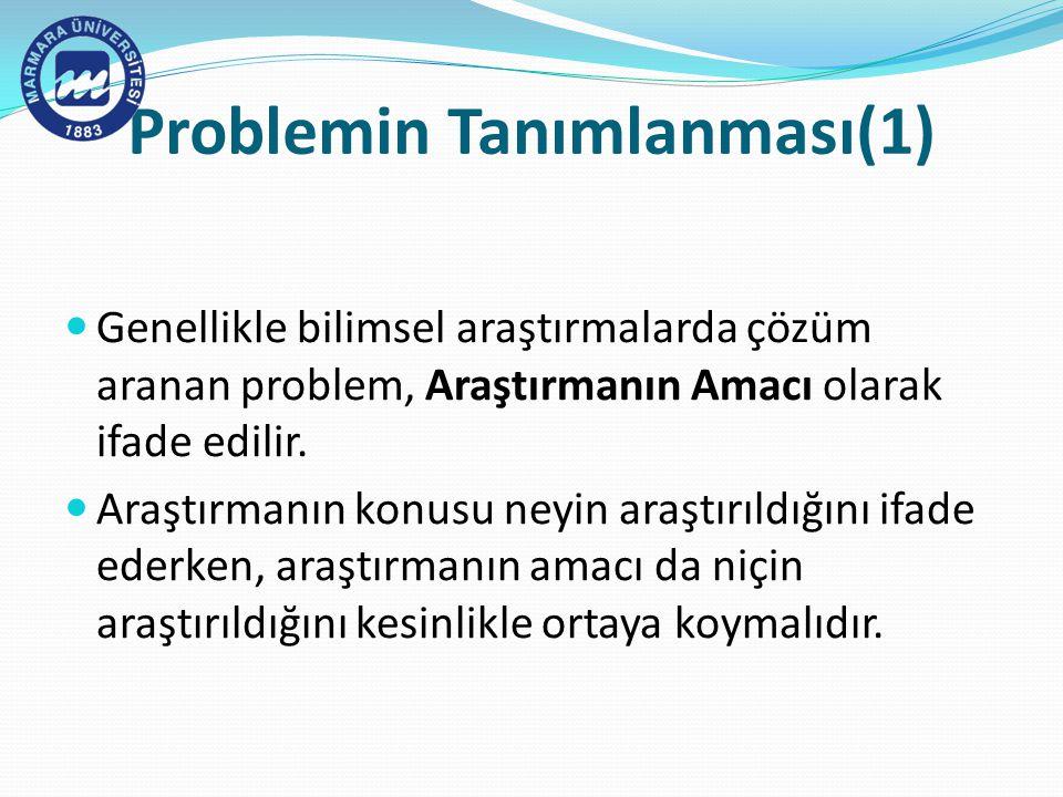 Problemin Tanımlanması(1) Genellikle bilimsel araştırmalarda çözüm aranan problem, Araştırmanın Amacı olarak ifade edilir.