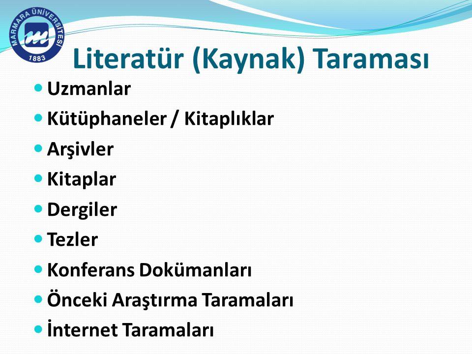 Literatür (Kaynak) Taraması Uzmanlar Kütüphaneler / Kitaplıklar Arşivler Kitaplar Dergiler Tezler Konferans Dokümanları Önceki Araştırma Taramaları İnternet Taramaları