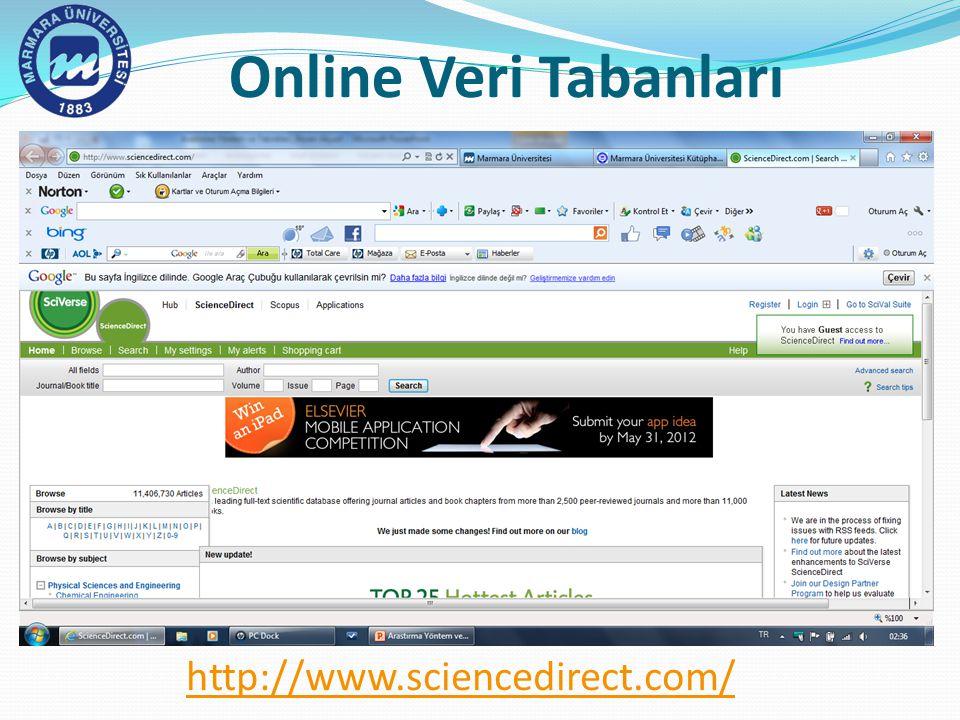 Online Veri Tabanları http://www.sciencedirect.com/