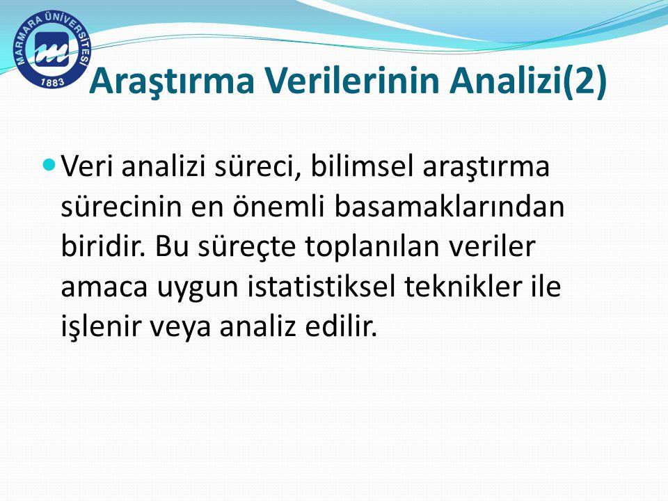 Araştırma Verilerinin Analizi(2) Veri analizi süreci, bilimsel araştırma sürecinin en önemli basamaklarından biridir.
