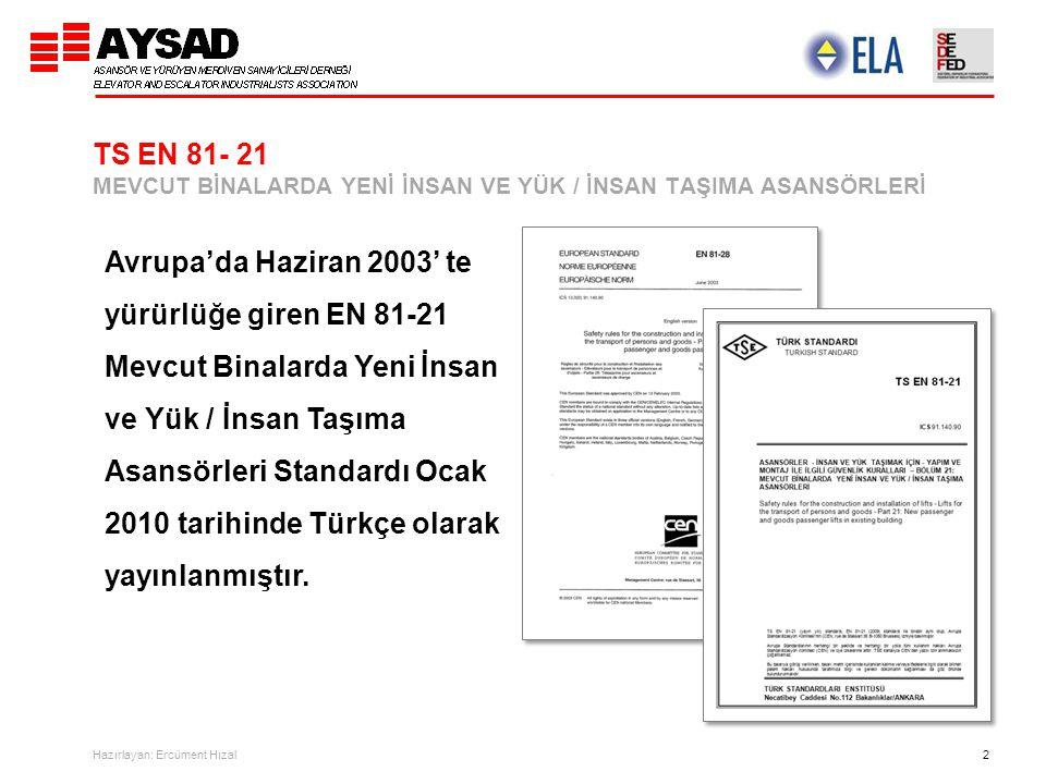 Hazırlayan: Ercüment Hızal 2 TS EN 81- 21 MEVCUT BİNALARDA YENİ İNSAN VE YÜK / İNSAN TAŞIMA ASANSÖRLERİ Avrupa'da Haziran 2003' te yürürlüğe giren EN