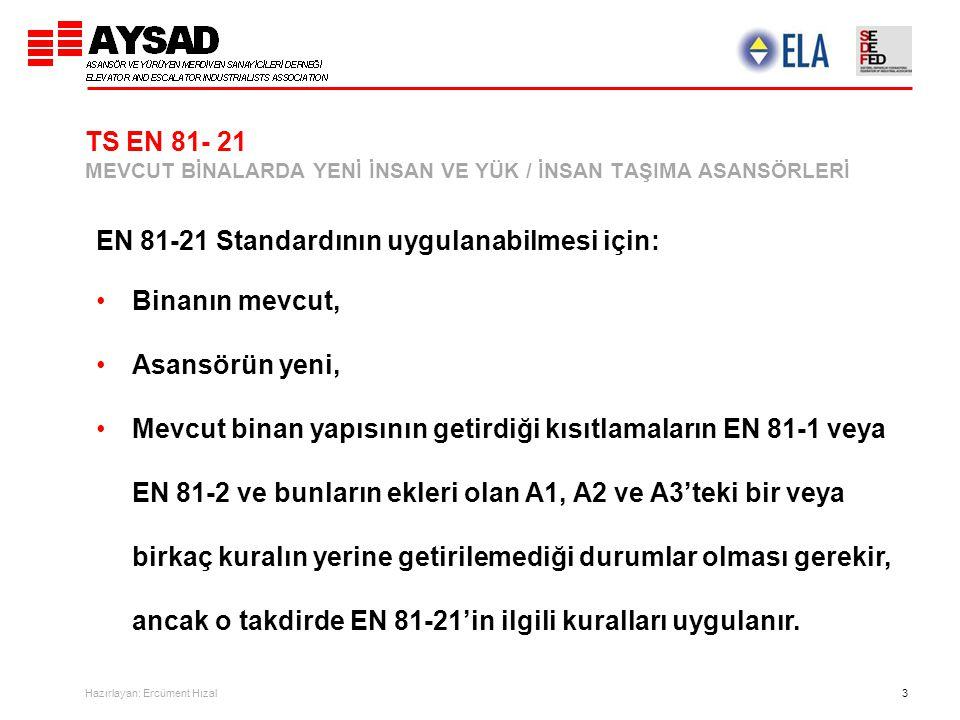 Hazırlayan: Ercüment Hızal 3 TS EN 81- 21 MEVCUT BİNALARDA YENİ İNSAN VE YÜK / İNSAN TAŞIMA ASANSÖRLERİ EN 81-21 Standardının uygulanabilmesi için: Bi