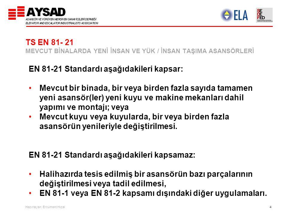 Hazırlayan: Ercüment Hızal 4 TS EN 81- 21 MEVCUT BİNALARDA YENİ İNSAN VE YÜK / İNSAN TAŞIMA ASANSÖRLERİ EN 81-21 Standardı aşağıdakileri kapsar: Mevcu