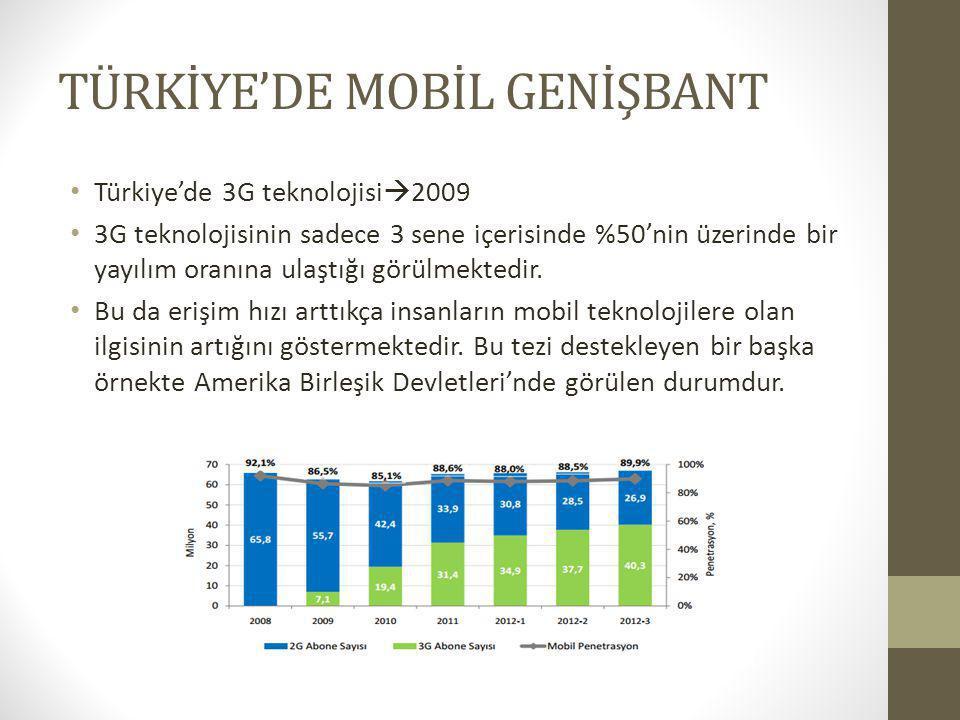 TÜRKİYE'DE MOBİL GENİŞBANT Türkiye'de 3G teknolojisi  2009 3G teknolojisinin sadece 3 sene içerisinde %50'nin üzerinde bir yayılım oranına ulaştığı g