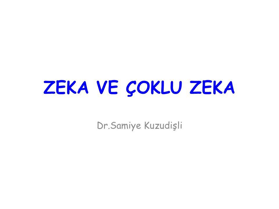 ZEKA VE ÇOKLU ZEKA Dr.Samiye Kuzudişli