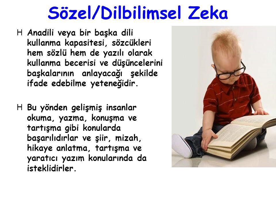 Sözel/Dilbilimsel Zeka HAnadili veya bir başka dili kullanma kapasitesi, sözcükleri hem sözlü hem de yazılı olarak kullanma becerisi ve düşüncelerini
