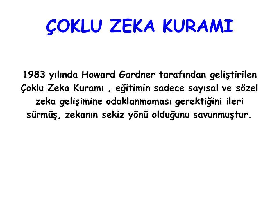 ÇOKLU ZEKA KURAMI 1983 yılında Howard Gardner tarafından geliştirilen Çoklu Zeka Kuramı, eğitimin sadece sayısal ve sözel zeka gelişimine odaklanmamas