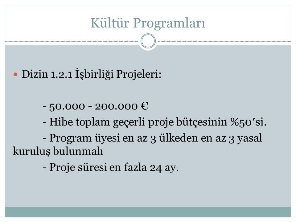 Kültür Programları Dizin 1.2.1 İşbirliği Projeleri: - 50.000 - 200.000 € - Hibe toplam geçerli proje bütçesinin %50′si.