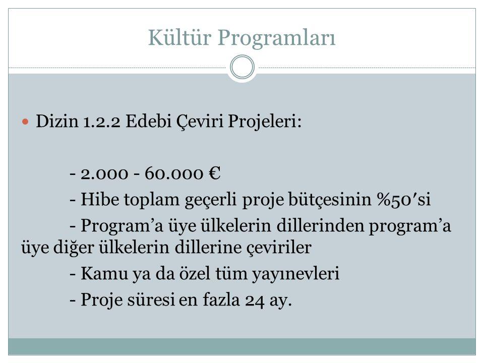 Kültür Programları Dizin 1.2.2 Edebi Çeviri Projeleri: - 2.000 - 60.000 € - Hibe toplam geçerli proje bütçesinin %50′si - Program'a üye ülkelerin dillerinden program'a üye diğer ülkelerin dillerine çeviriler - Kamu ya da özel tüm yayınevleri - Proje süresi en fazla 24 ay.