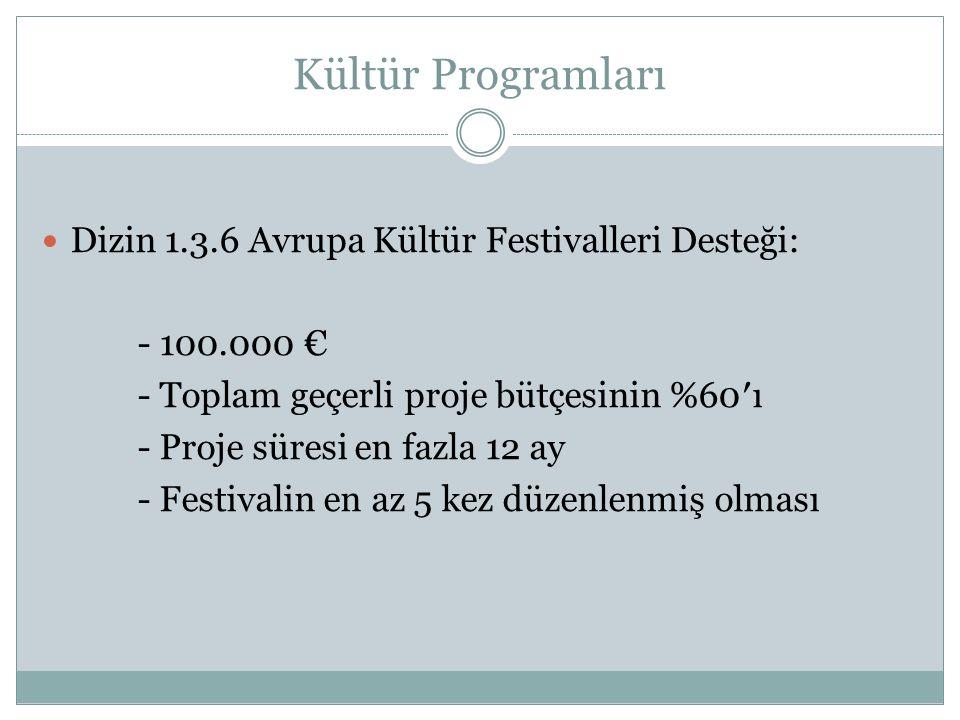 Kültür Programları Dizin 1.3.6 Avrupa Kültür Festivalleri Desteği: - 100.000 € - Toplam geçerli proje bütçesinin %60′ı - Proje süresi en fazla 12 ay - Festivalin en az 5 kez düzenlenmiş olması