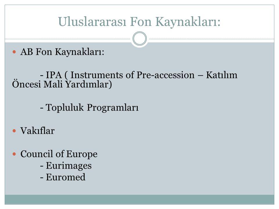 Uluslararası Fon Kaynakları: AB Fon Kaynakları: - IPA ( Instruments of Pre-accession – Katılım Öncesi Mali Yardımlar) - Topluluk Programları Vakıflar Council of Europe - Eurimages - Euromed