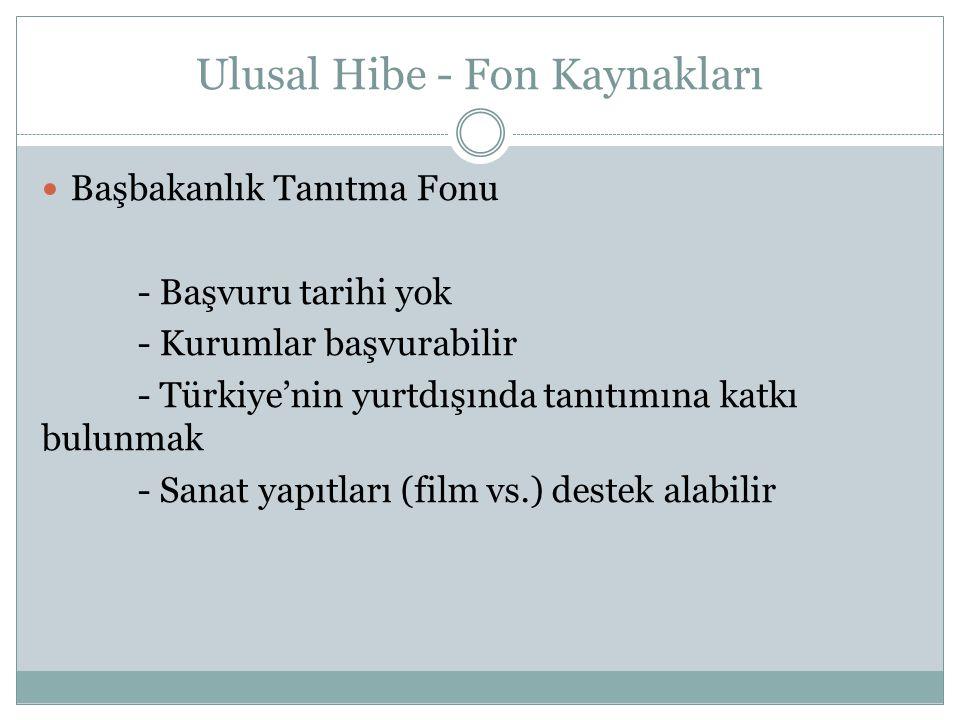 Ulusal Hibe - Fon Kaynakları Başbakanlık Tanıtma Fonu - Başvuru tarihi yok - Kurumlar başvurabilir - Türkiye'nin yurtdışında tanıtımına katkı bulunmak - Sanat yapıtları (film vs.) destek alabilir