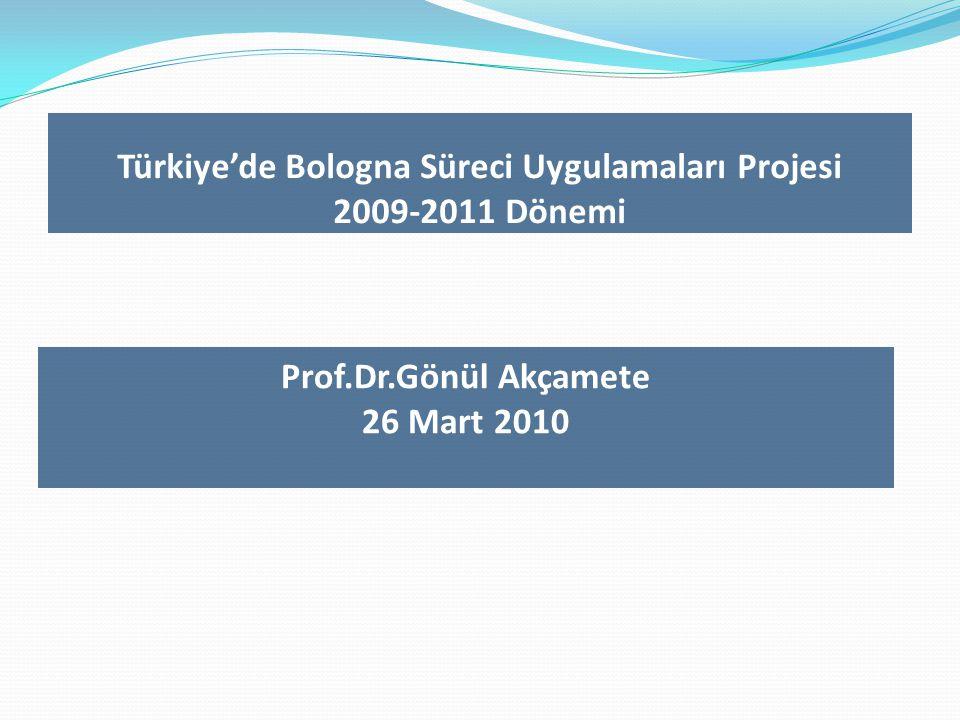Türkiye'de Bologna Süreci Uygulamaları Projesi 2009-2011 Dönemi Prof.Dr.Gönül Akçamete 26 Mart 2010