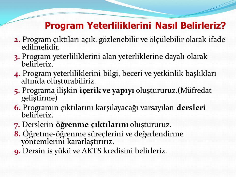 2. Program çıktıları açık, gözlenebilir ve ölçülebilir olarak ifade edilmelidir. 3. Program yeterliliklerini alan yeterliklerine dayalı olarak belirle