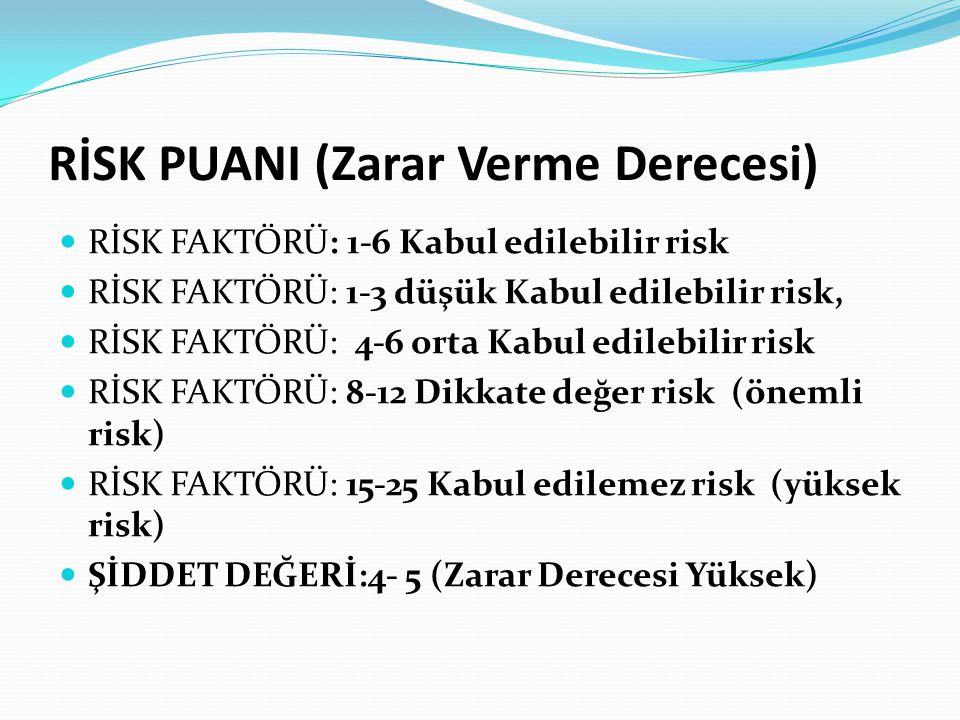 RİSK PUANI (Zarar Verme Derecesi) RİSK FAKTÖRÜ: 1-6 Kabul edilebilir risk RİSK FAKTÖRÜ: 1-3 düşük Kabul edilebilir risk, RİSK FAKTÖRÜ: 4-6 orta Kabul