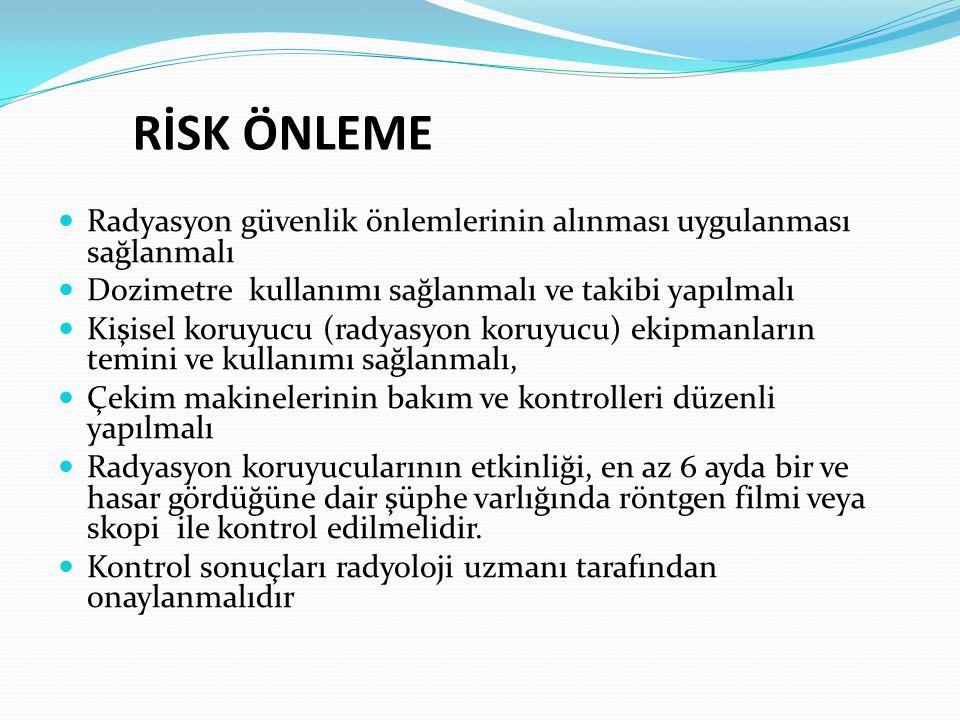 RİSK ÖNLEME Radyasyon güvenlik önlemlerinin alınması uygulanması sağlanmalı Dozimetre kullanımı sağlanmalı ve takibi yapılmalı Kişisel koruyucu (radya