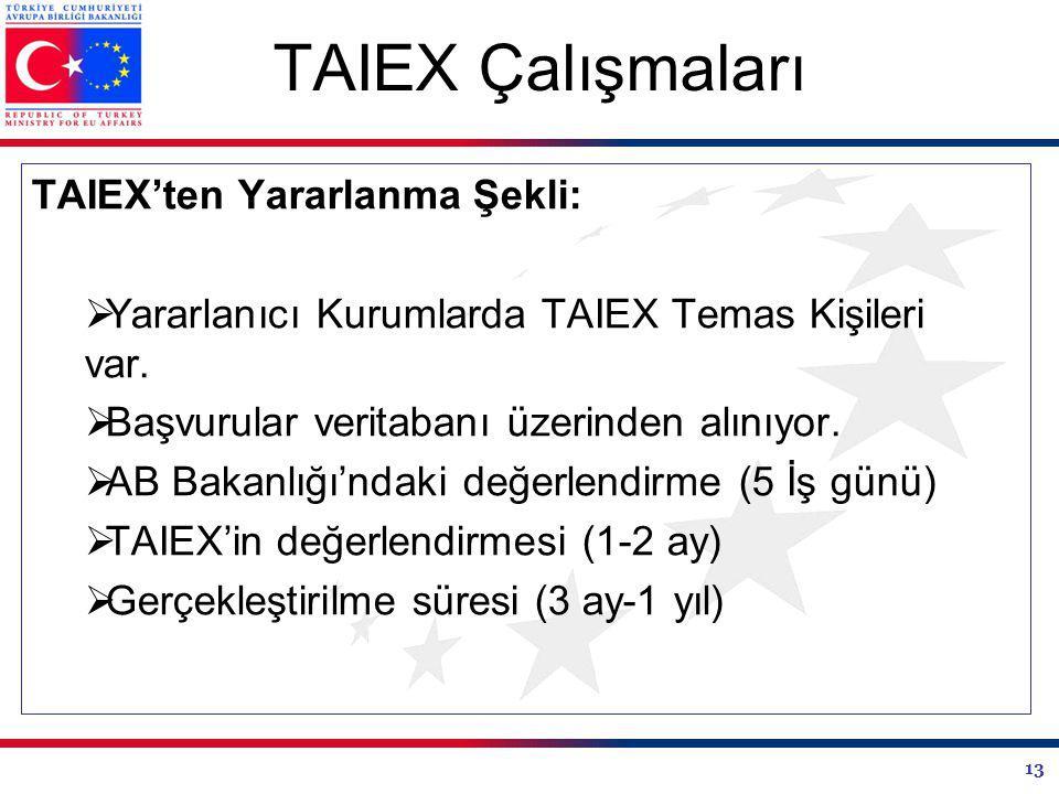 13 TAIEX Çalışmaları TAIEX'ten Yararlanma Şekli:  Yararlanıcı Kurumlarda TAIEX Temas Kişileri var.