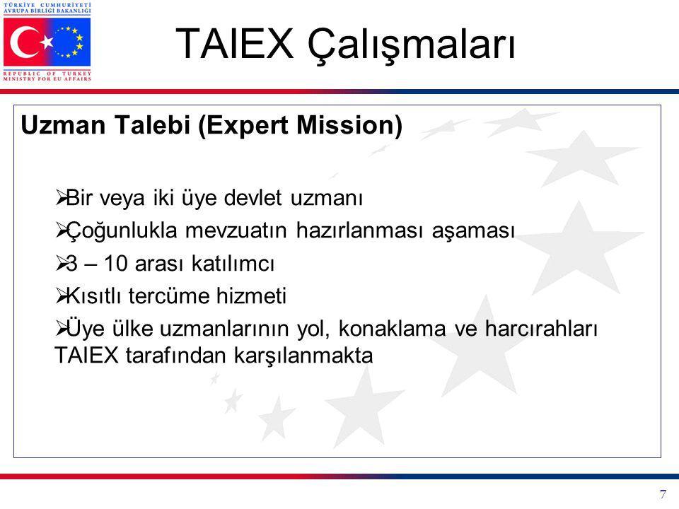 7 TAIEX Çalışmaları Uzman Talebi (Expert Mission)  Bir veya iki üye devlet uzmanı  Çoğunlukla mevzuatın hazırlanması aşaması  3 – 10 arası katılımcı  Kısıtlı tercüme hizmeti  Üye ülke uzmanlarının yol, konaklama ve harcırahları TAIEX tarafından karşılanmakta