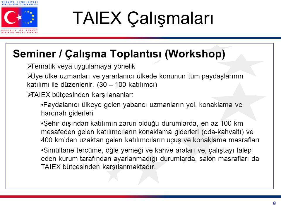 8 TAIEX Çalışmaları Seminer / Çalışma Toplantısı (Workshop)  Tematik veya uygulamaya yönelik  Üye ülke uzmanları ve yararlanıcı ülkede konunun tüm paydaşlarının katılımı ile düzenlenir.