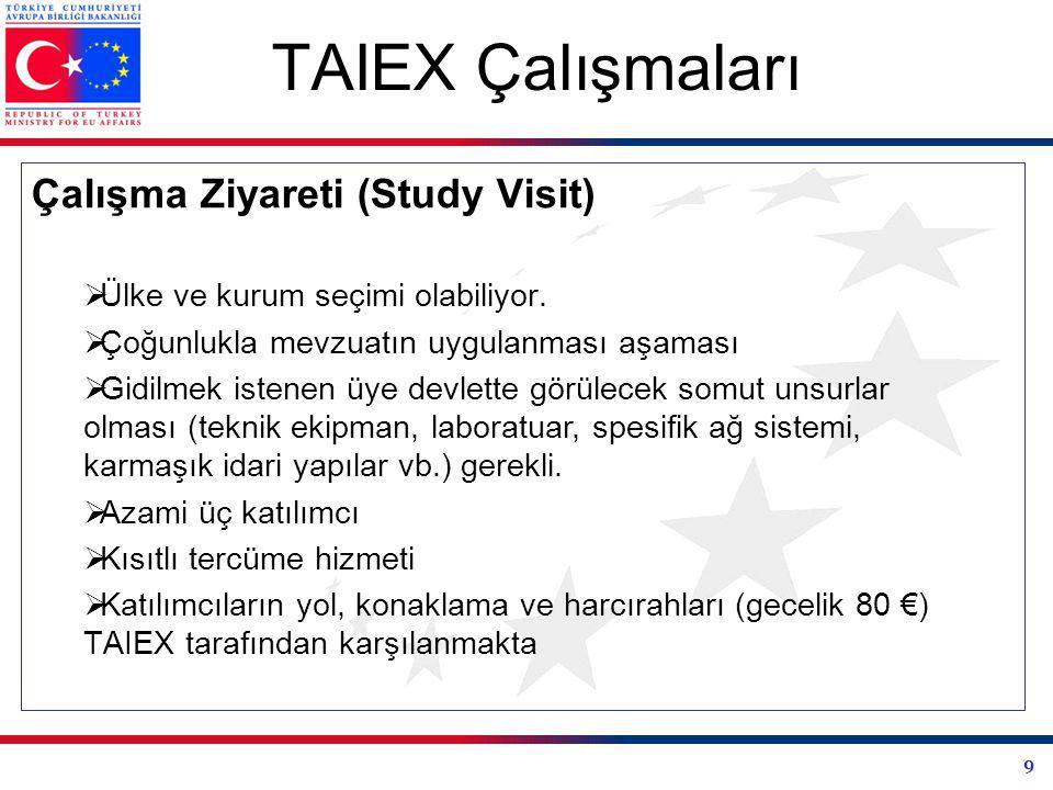 9 TAIEX Çalışmaları Çalışma Ziyareti (Study Visit)  Ülke ve kurum seçimi olabiliyor.