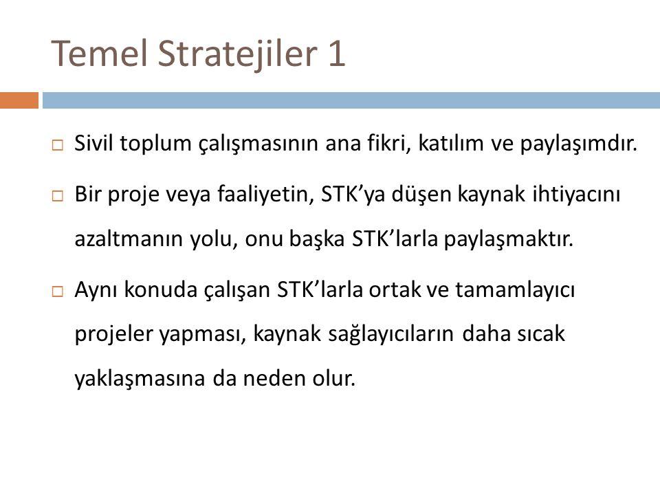 Temel Stratejiler 1  Sivil toplum çalışmasının ana fikri, katılım ve paylaşımdır.  Bir proje veya faaliyetin, STK'ya düşen kaynak ihtiyacını azaltma